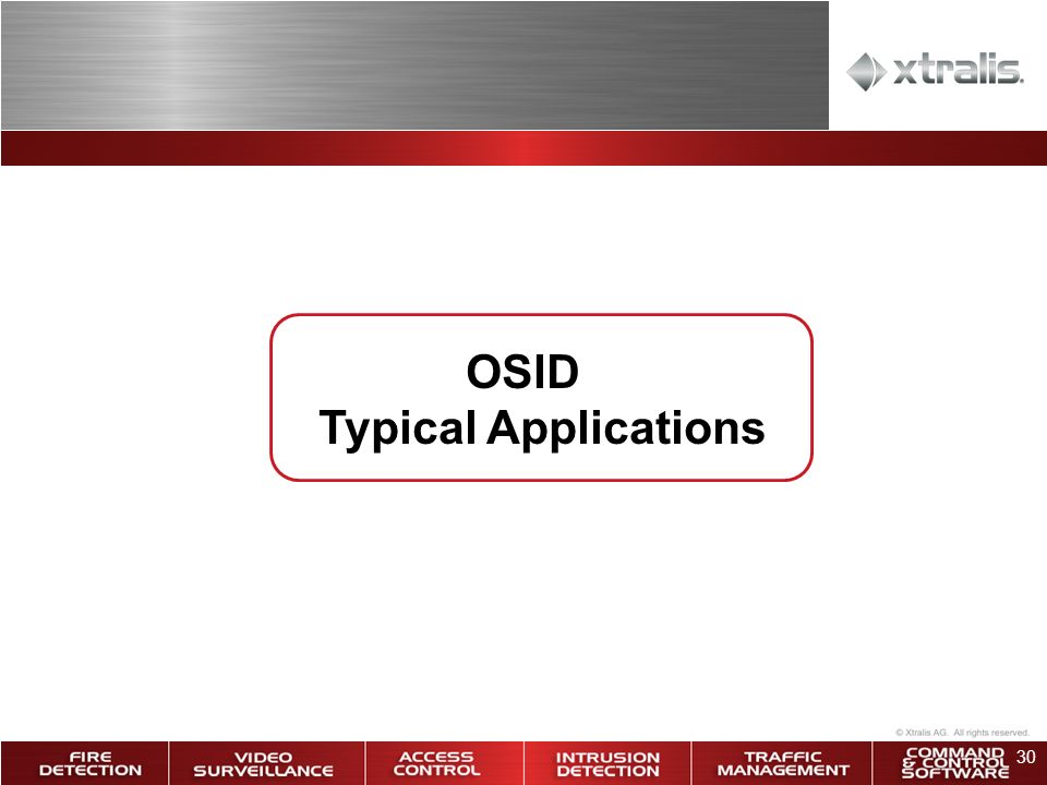 30 OSID Typical Applications