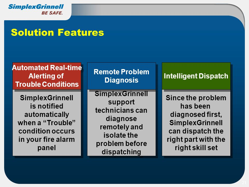 Solution Features 21 SimplexGrinnell support technicians can diagnose remotely and isolate the problem before dispatching SimplexGrinnell support tech