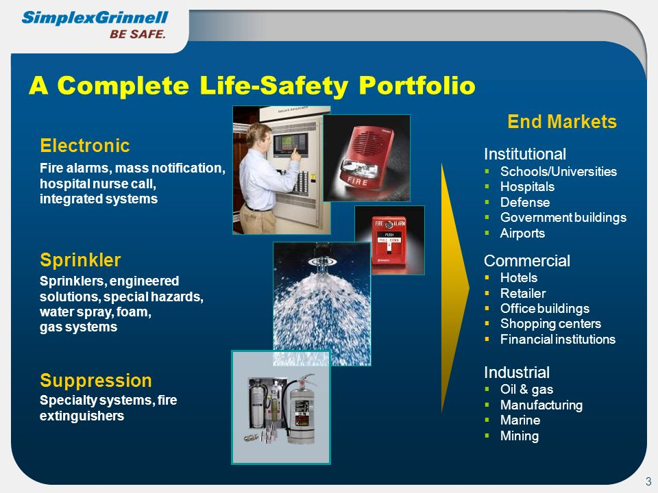 3 A Complete Life-Safety Portfolio Sprinkler Electronic Suppression Fire alarms, mass notification, hospital nurse call, integrated systems Sprinklers