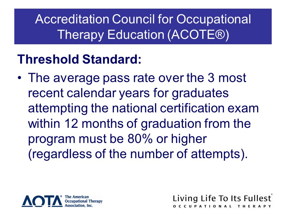 Accreditation Council for Occupational Therapy Education (ACOTE®) Threshold Standard: The average pass rate over the 3 most recent calendar years for graduates attempting the national certification exam within 12 months of graduation from the program must be 80% or higher (regardless of the number of attempts).