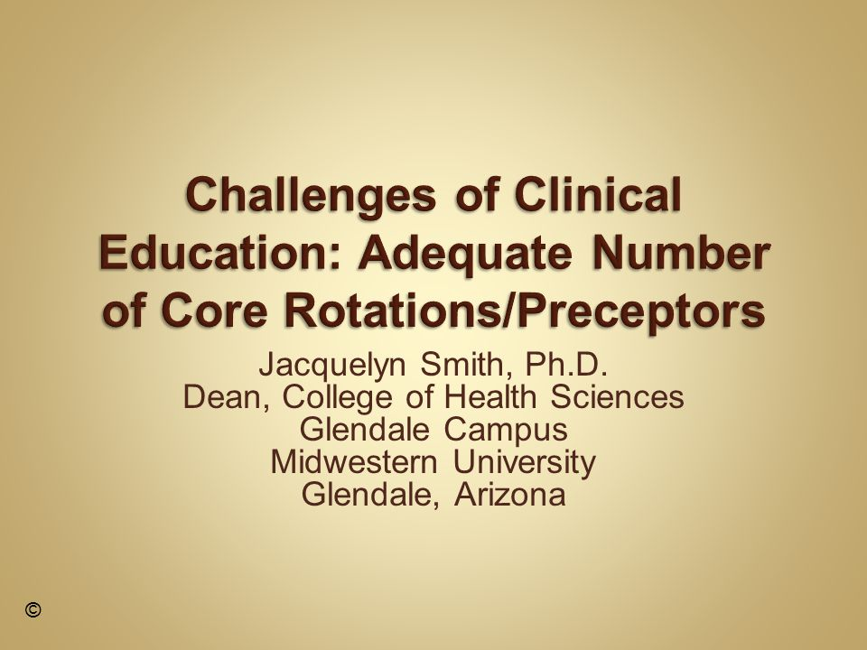 Eight programs in CHS Biomedical Sciences Cardiovascular Perfusion Clinical Psychology Nurse Anesthesia Occupational Therapy Physician Assistant Physical Therapy Podiatry Seven programs: clinical education curriculum Challenge: adequate core rotations/preceptors ©