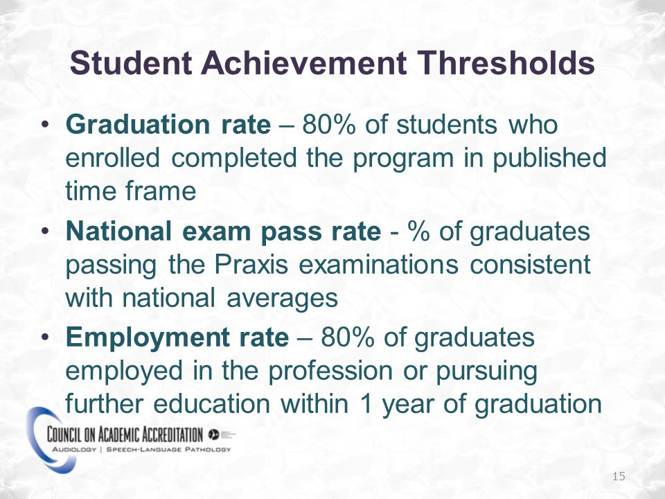 Student Achievement Thresholds Graduation rate – 80% of students who enrolled completed the program in published time frame National exam pass rate - % of graduates passing the Praxis examinations consistent with national averages Employment rate – 80% of graduates employed in the profession or pursuing further education within 1 year of graduation 15