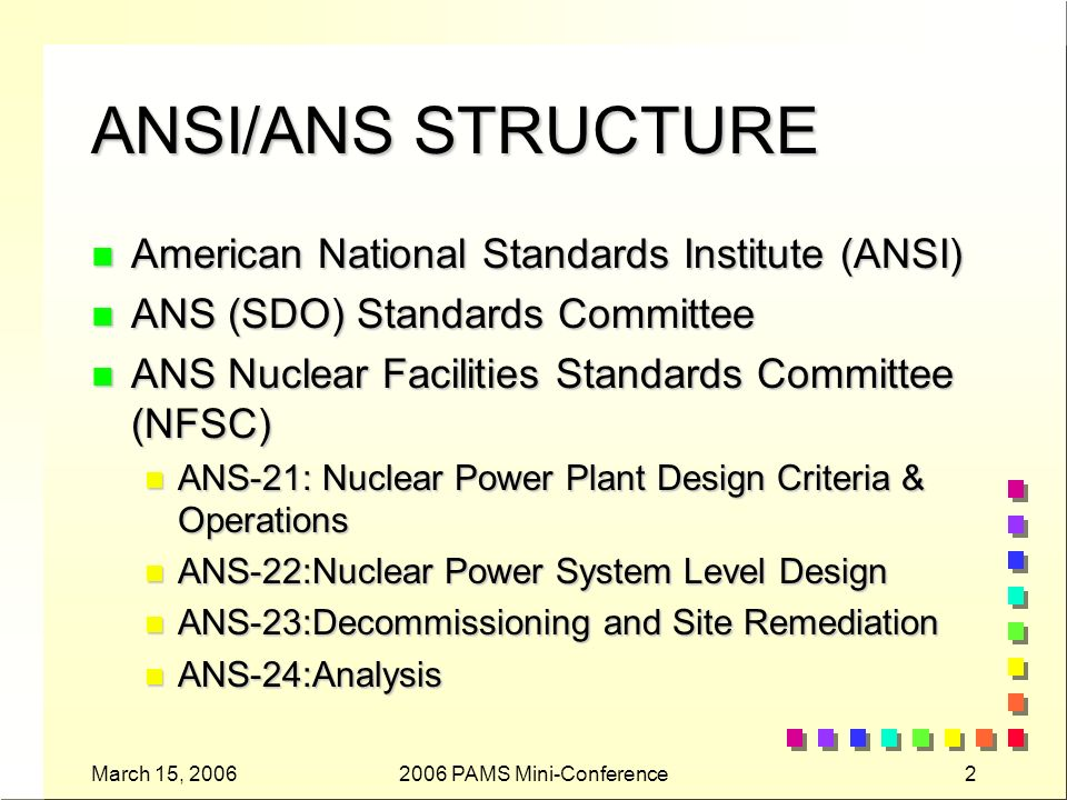 March 15, 20062006 PAMS Mini-Conference2 ANSI/ANS STRUCTURE n American National Standards Institute (ANSI) n ANS (SDO) Standards Committee n ANS Nuclear Facilities Standards Committee (NFSC) n ANS-21: Nuclear Power Plant Design Criteria & Operations n ANS-22:Nuclear Power System Level Design n ANS-23:Decommissioning and Site Remediation n ANS-24:Analysis
