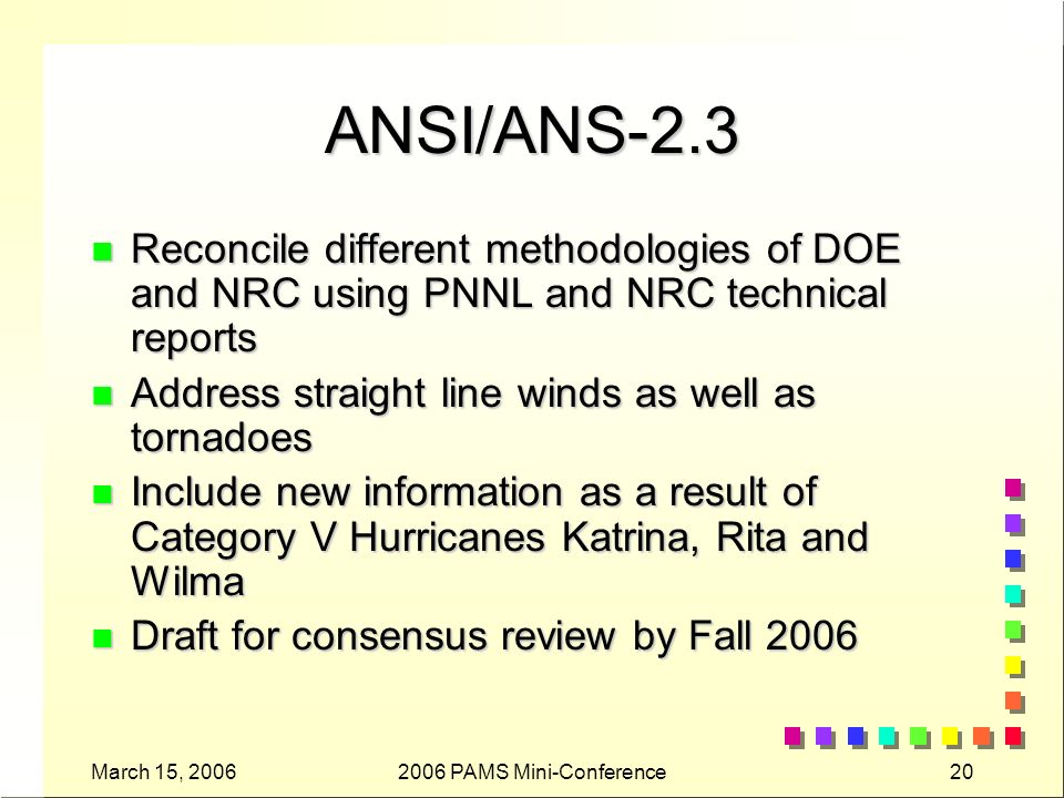 March 15, PAMS Mini-Conference20 ANSI/ANS-2.3 n Reconcile different methodologies of DOE and NRC using PNNL and NRC technical reports n Address straight line winds as well as tornadoes n Include new information as a result of Category V Hurricanes Katrina, Rita and Wilma n Draft for consensus review by Fall 2006