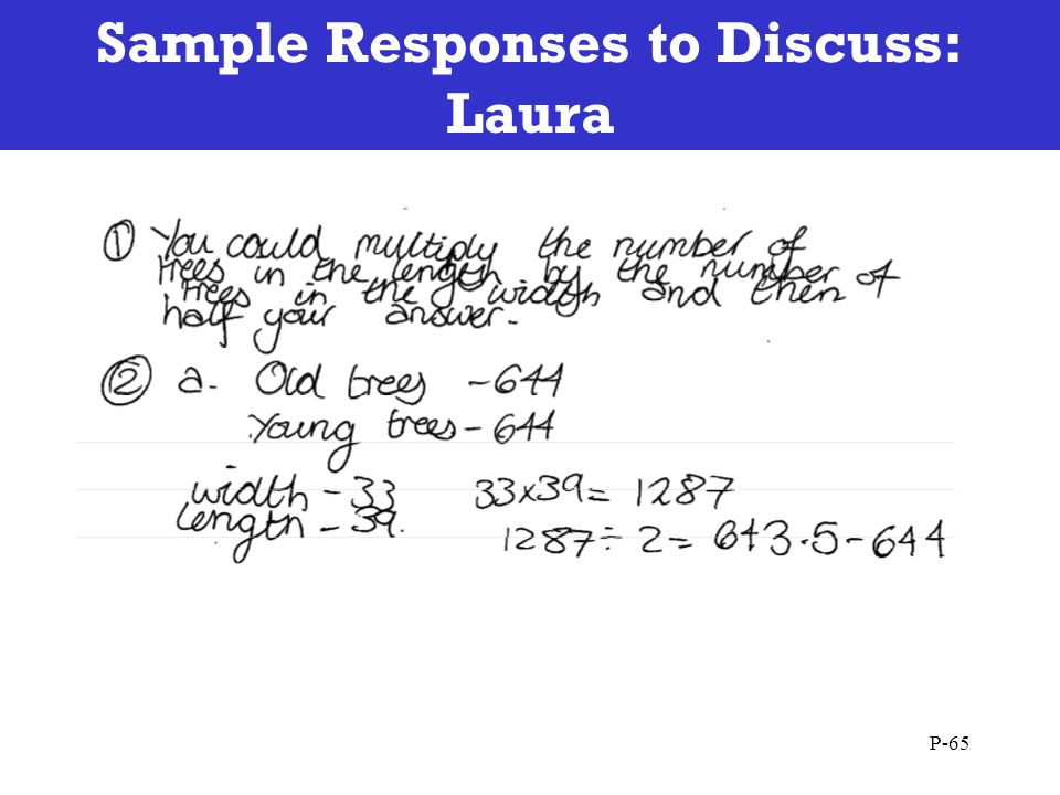Sample Responses to Discuss: Laura P-65