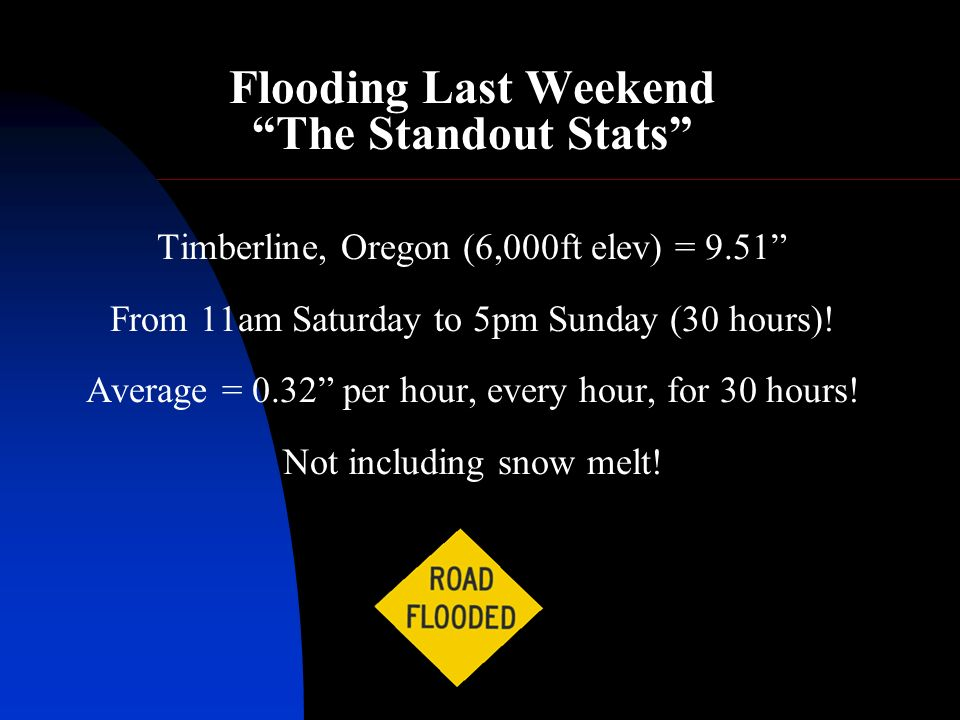 Flooding Last Weekend The Standout Stats Timberline, Oregon (6,000ft elev) = 9.51 From 11am Saturday to 5pm Sunday (30 hours).