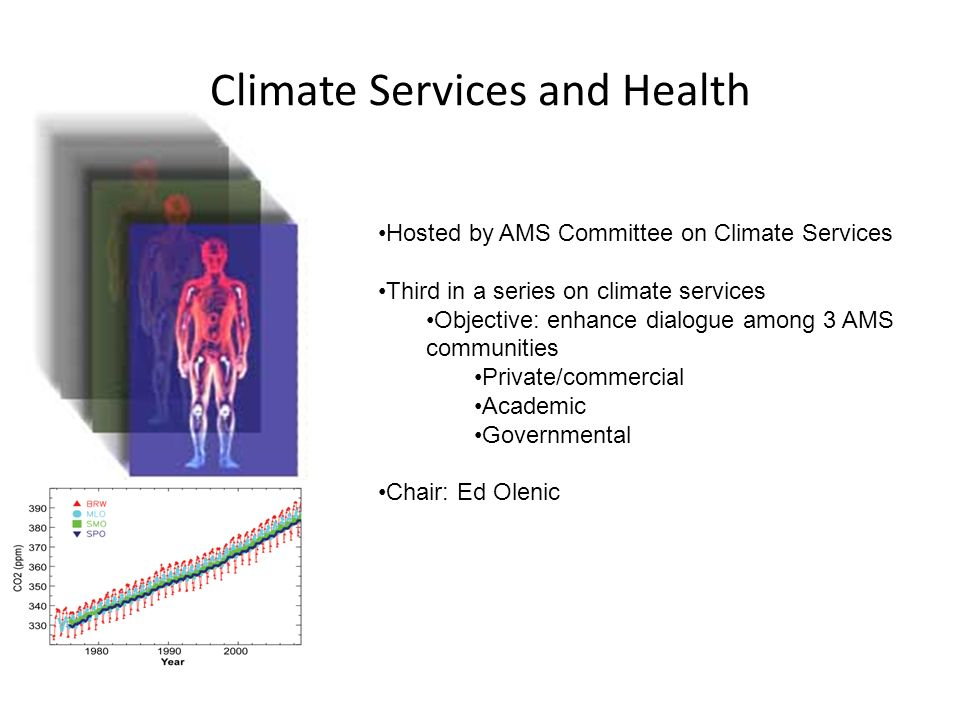 Climate Services and Health Hosted by AMS Committee on Climate Services Third in a series on climate services Objective: enhance dialogue among 3 AMS