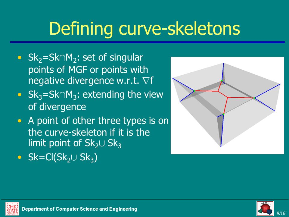 9/16 Department of Computer Science and Engineering Defining curve-skeletons Sk 2 =Sk Å M 2 : set of singular points of MGF or points with negative divergence w.r.t.