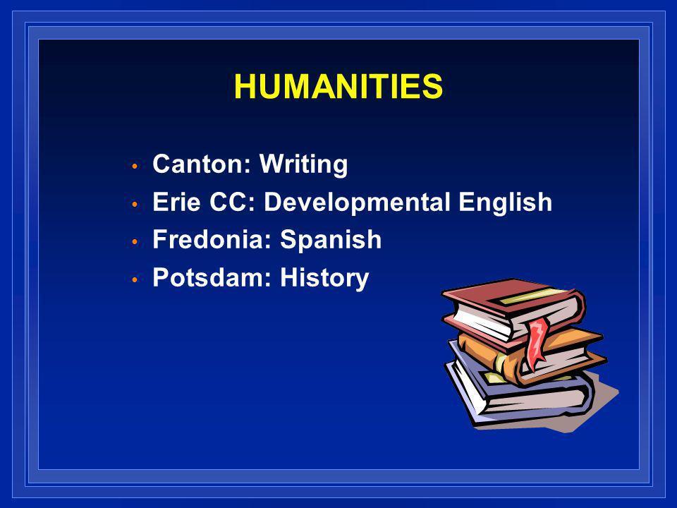 HUMANITIES Canton: Writing Erie CC: Developmental English Fredonia: Spanish Potsdam: History