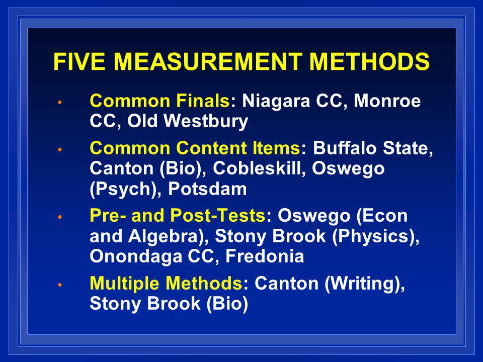 FIVE MEASUREMENT METHODS Common Finals: Niagara CC, Monroe CC, Old Westbury Common Content Items: Buffalo State, Canton (Bio), Cobleskill, Oswego (Psych), Potsdam Pre- and Post-Tests: Oswego (Econ and Algebra), Stony Brook (Physics), Onondaga CC, Fredonia Multiple Methods: Canton (Writing), Stony Brook (Bio)