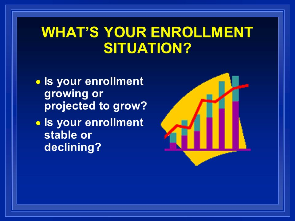 WHATS YOUR ENROLLMENT SITUATION. Is your enrollment growing or projected to grow.