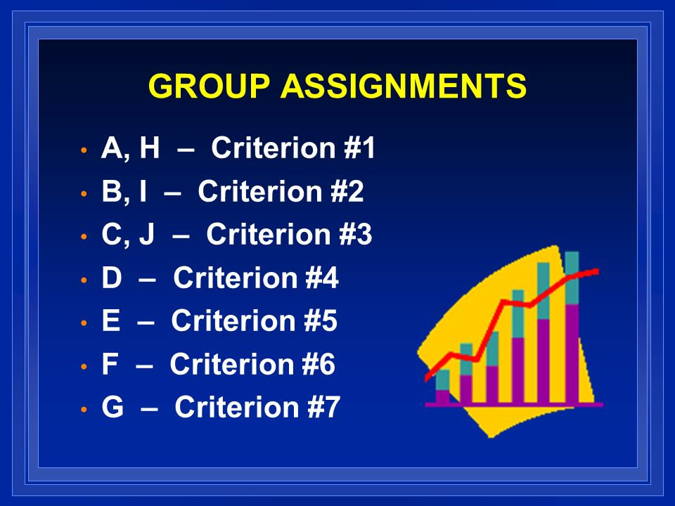 GROUP ASSIGNMENTS A, H – Criterion #1 B, I – Criterion #2 C, J – Criterion #3 D – Criterion #4 E – Criterion #5 F – Criterion #6 G – Criterion #7