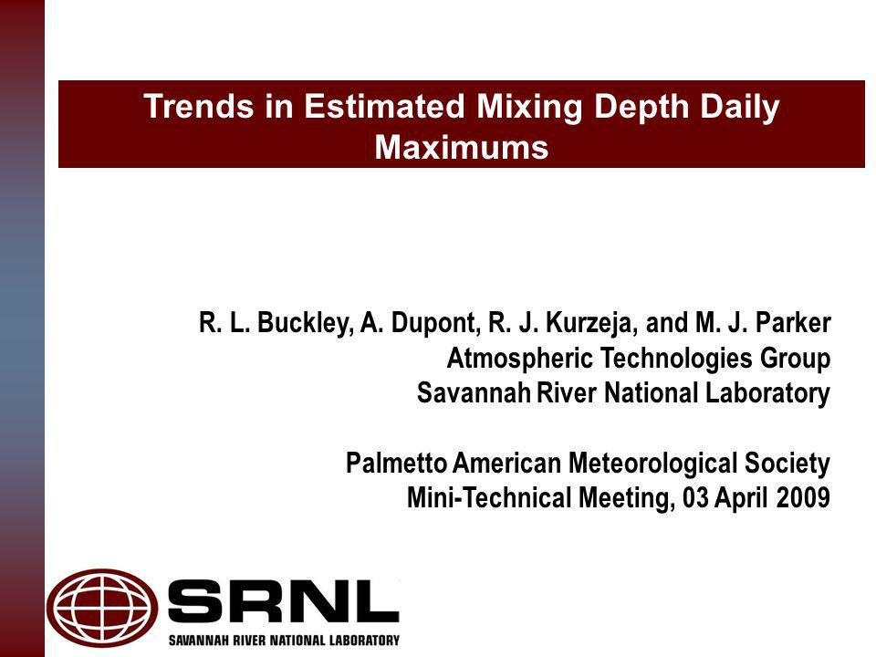 Trends in Estimated Mixing Depth Daily Maximums R.