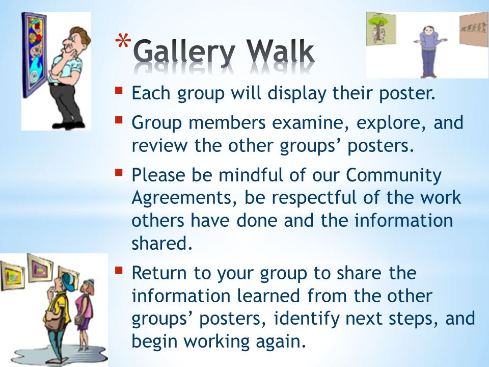 Each group will display their poster. Group members examine, explore, and review the other groups posters. Please be mindful of our Community Agreemen