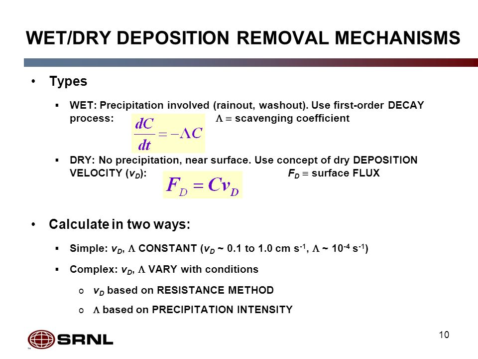 10 WET/DRY DEPOSITION REMOVAL MECHANISMS Types WET: Precipitation involved (rainout, washout).