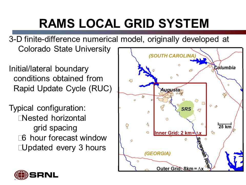 5 RAMS LOCAL GRID SYSTEM 3-D finite-difference numerical model, originally developed at Colorado State University Initial/lateral boundary conditions obtained from Rapid Update Cycle (RUC) Typical configuration: Nested horizontal grid spacing 6 hour forecast window Updated every 3 hours