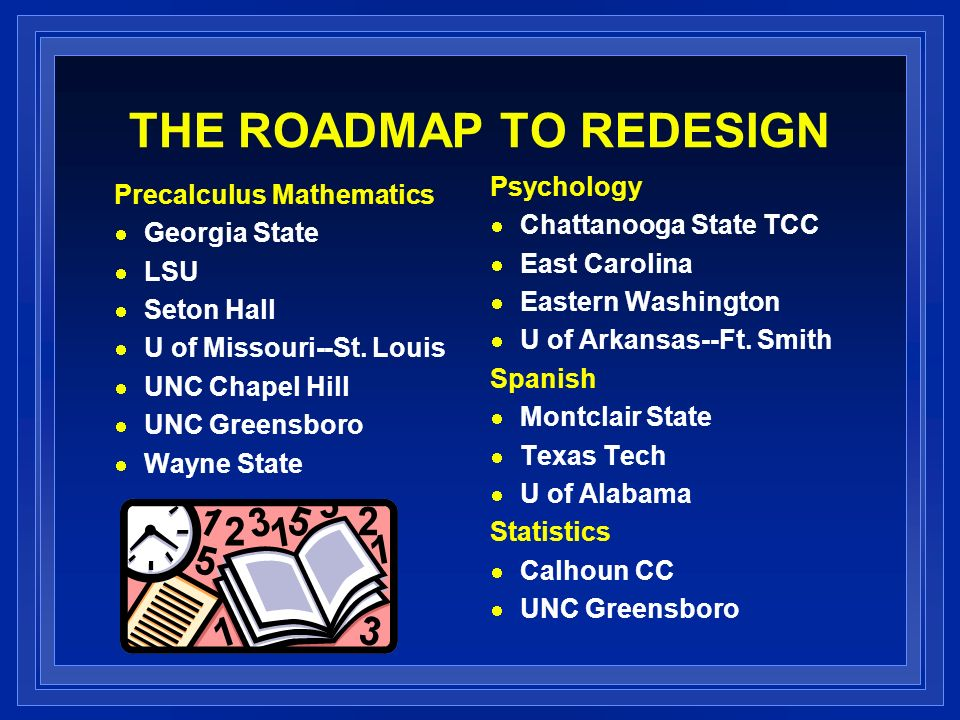 THE ROADMAP TO REDESIGN Precalculus Mathematics Georgia State LSU Seton Hall U of Missouri--St.