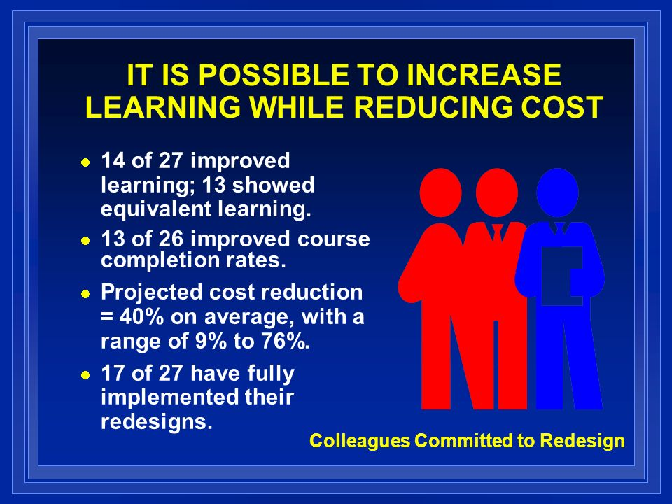IT IS POSSIBLE TO INCREASE LEARNING WHILE REDUCING COST 14 of 27 improved learning; 13 showed equivalent learning.