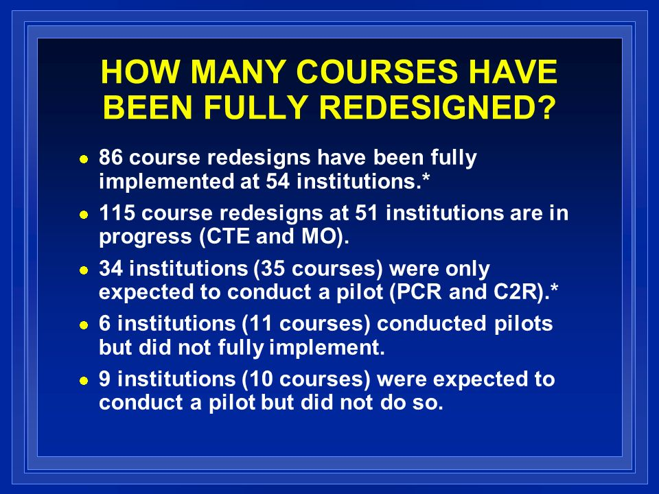 HOW MANY COURSES HAVE BEEN FULLY REDESIGNED.
