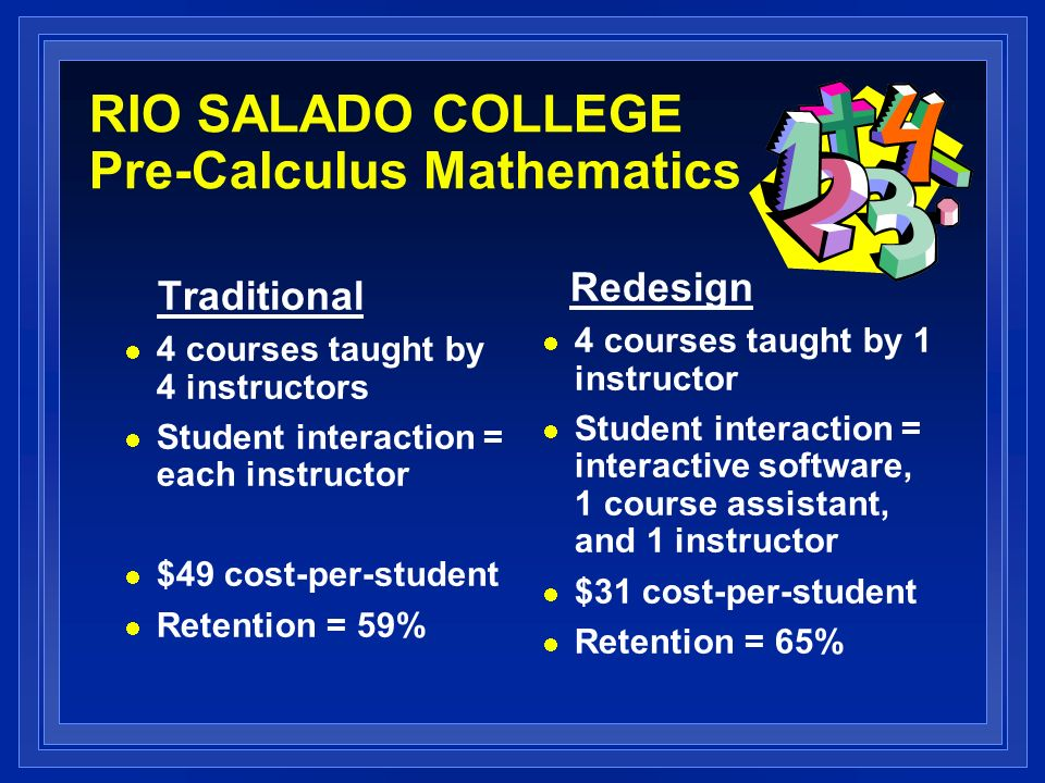RIO SALADO COLLEGE Pre-Calculus Mathematics Traditional 4 courses taught by 4 instructors Student interaction = each instructor $49 cost-per-student Retention = 59% Redesign 4 courses taught by 1 instructor Student interaction = interactive software, 1 course assistant, and 1 instructor $31 cost-per-student Retention = 65%