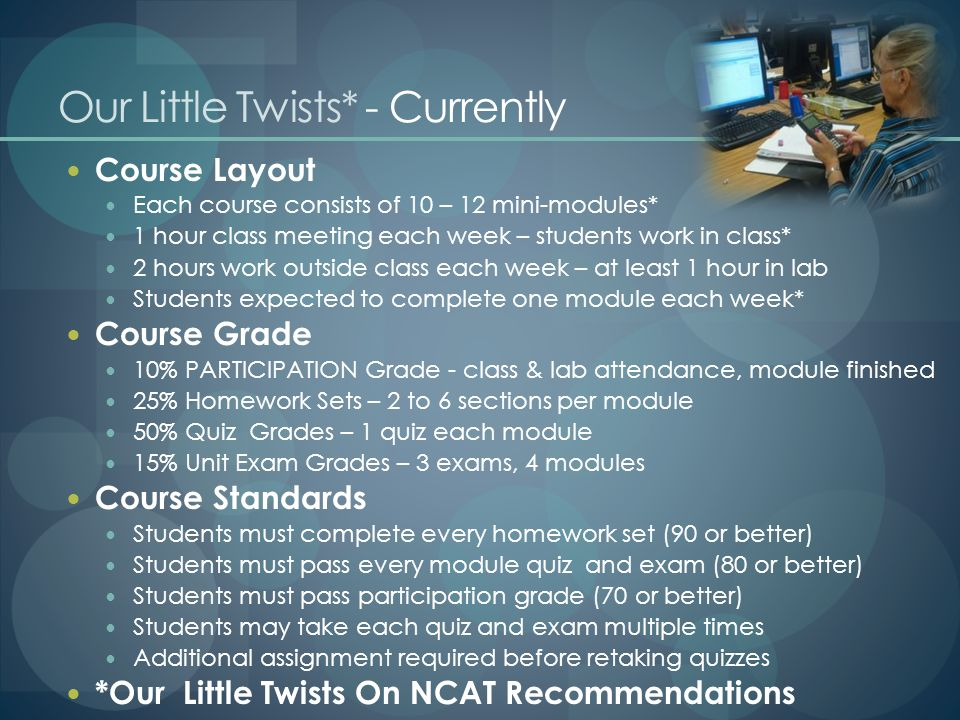 Our Little Twists* - Currently Course Layout Each course consists of 10 – 12 mini-modules* 1 hour class meeting each week – students work in class* 2