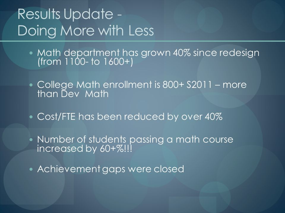 Results Update - Doing More with Less Math department has grown 40% since redesign (from 1100- to 1600+) College Math enrollment is 800+ S2011 – more than Dev Math Cost/FTE has been reduced by over 40% Number of students passing a math course increased by 60+%!!.