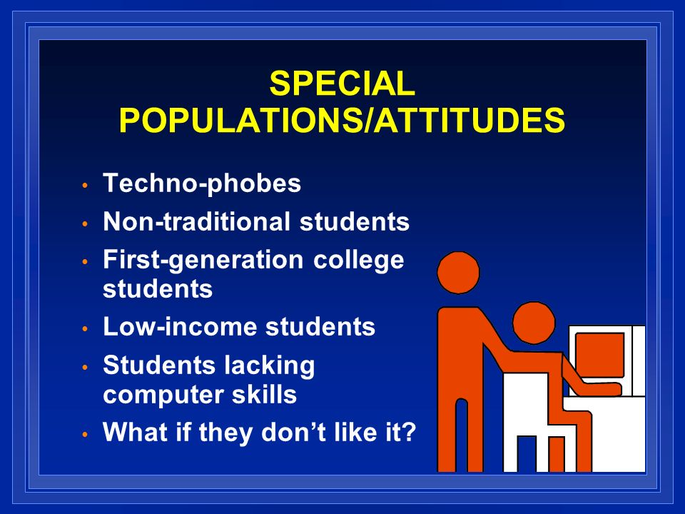 SPECIAL POPULATIONS/ATTITUDES Techno-phobes Non-traditional students First-generation college students Low-income students Students lacking computer skills What if they dont like it
