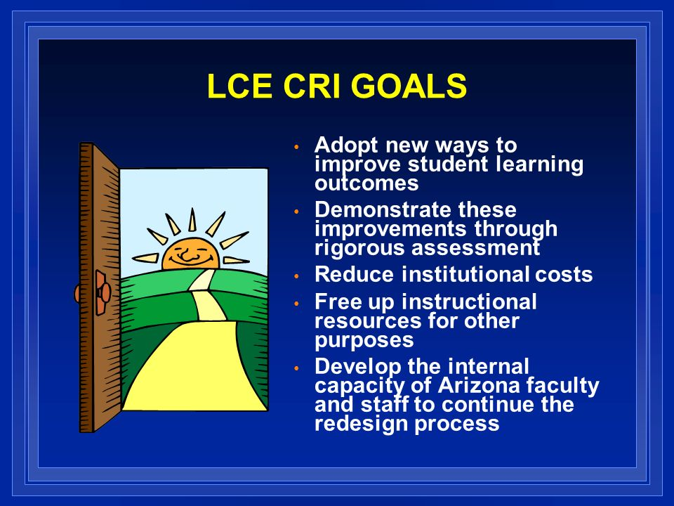 LCE CRI GOALS Adopt new ways to improve student learning outcomes Demonstrate these improvements through rigorous assessment Reduce institutional costs Free up instructional resources for other purposes Develop the internal capacity of Arizona faculty and staff to continue the redesign process