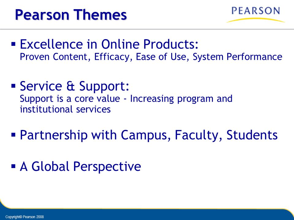 Copyright© Pearson 2008 Pearson Themes Excellence in Online Products: Proven Content, Efficacy, Ease of Use, System Performance Service & Support: Sup