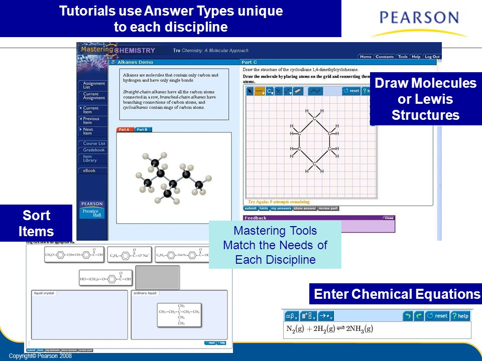 Copyright© Pearson 2008 Tutorials use Answer Types unique to each discipline Enter Chemical Equations Draw Molecules or Lewis Structures Sort Items Ma