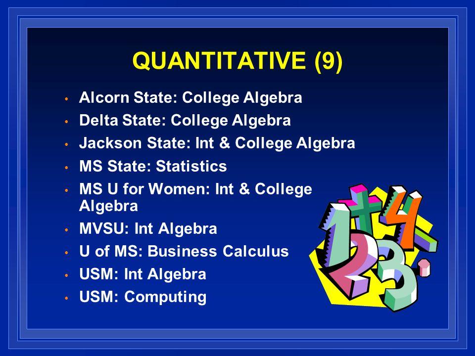 QUANTITATIVE (9) Alcorn State: College Algebra Delta State: College Algebra Jackson State: Int & College Algebra MS State: Statistics MS U for Women: Int & College Algebra MVSU: Int Algebra U of MS: Business Calculus USM: Int Algebra USM: Computing