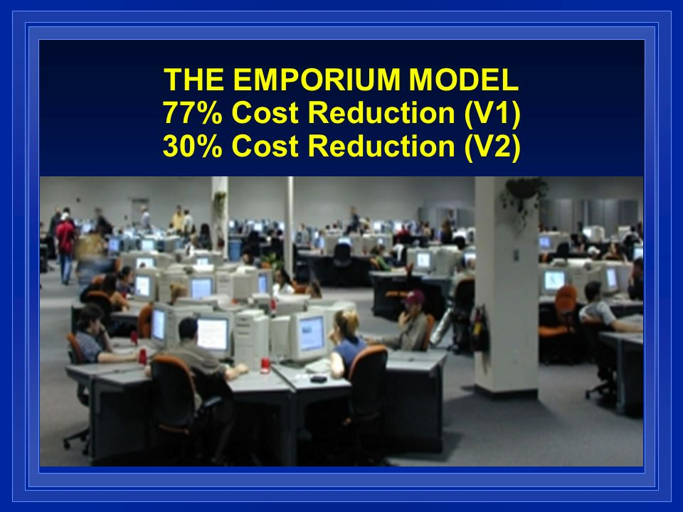THE EMPORIUM MODEL 77% Cost Reduction (V1) 30% Cost Reduction (V2)