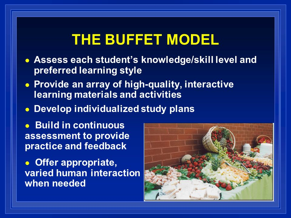 THE BUFFET MODEL Assess each students knowledge/skill level and preferred learning style Provide an array of high-quality, interactive learning materials and activities Develop individualized study plans Build in continuous assessment to provide practice and feedback Offer appropriate, varied human interaction when needed