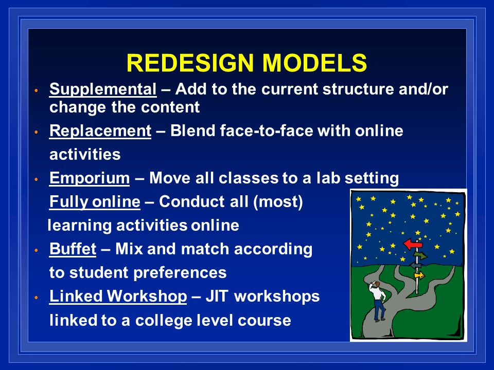 REDESIGN MODELS Supplemental – Add to the current structure and/or change the content Replacement – Blend face-to-face with online activities Emporium – Move all classes to a lab setting Fully online – Conduct all (most) learning activities online Buffet – Mix and match according to student preferences Linked Workshop – JIT workshops linked to a college level course