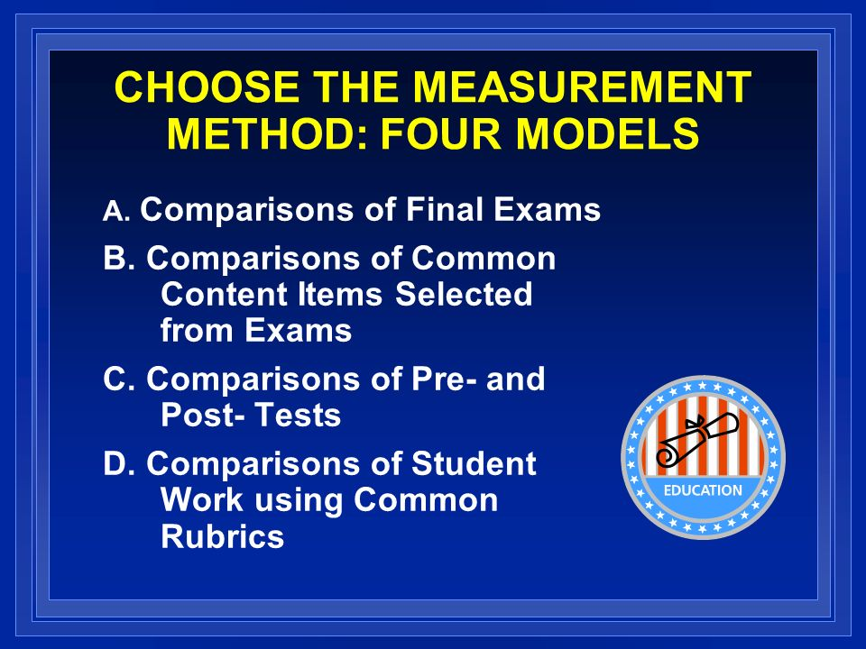 CHOOSE THE MEASUREMENT METHOD: FOUR MODELS A. Comparisons of Final Exams B.