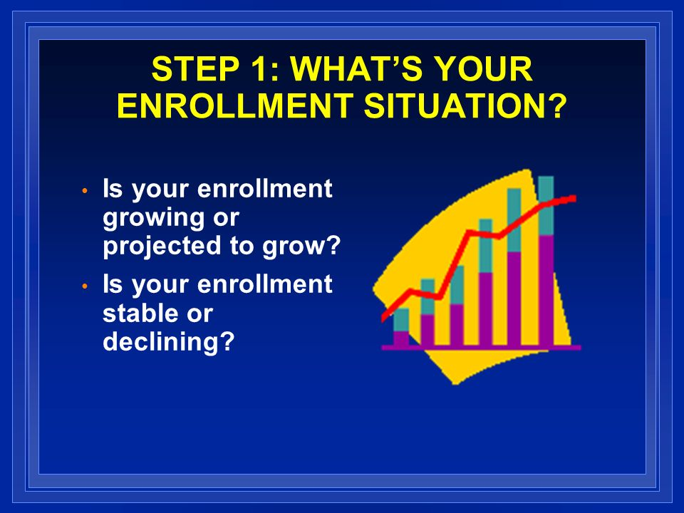 STEP 1: WHATS YOUR ENROLLMENT SITUATION. Is your enrollment growing or projected to grow.