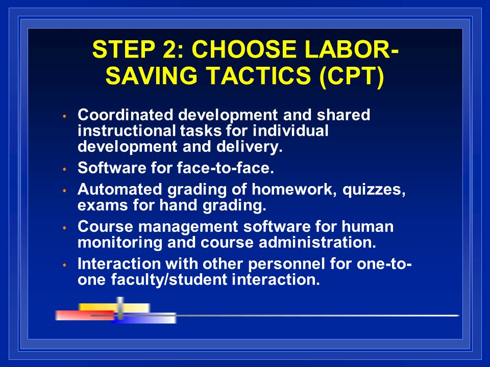 STEP 2: CHOOSE LABOR- SAVING TACTICS (CPT) Coordinated development and shared instructional tasks for individual development and delivery.
