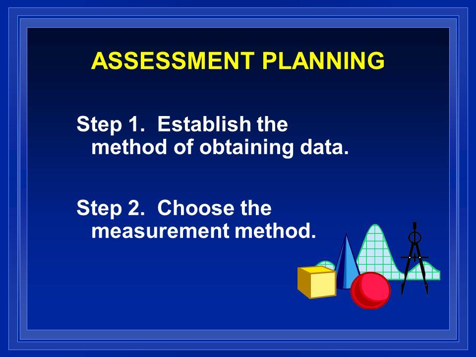 ASSESSMENT PLANNING Step 1. Establish the method of obtaining data. Step 2. Choose the measurement method.