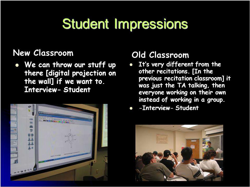 Student Impressions We can throw our stuff up there [digital projection on the wall] if we want to. Interview- Student New Classroom Its very differen