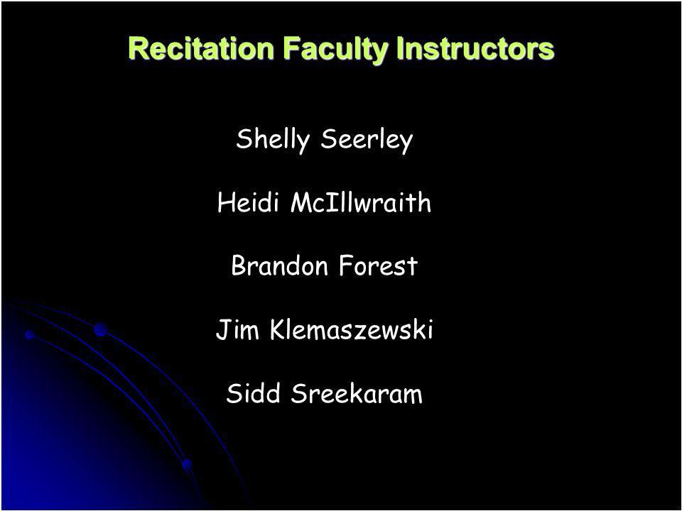 Recitation Faculty Instructors Shelly Seerley Heidi McIllwraith Brandon Forest Jim Klemaszewski Sidd Sreekaram