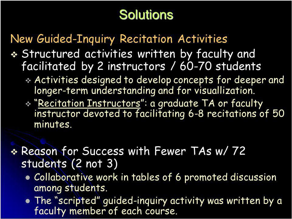 Solutions New Guided-Inquiry Recitation Activities Structured activities written by faculty and facilitated by 2 instructors / 60-70 students Activiti