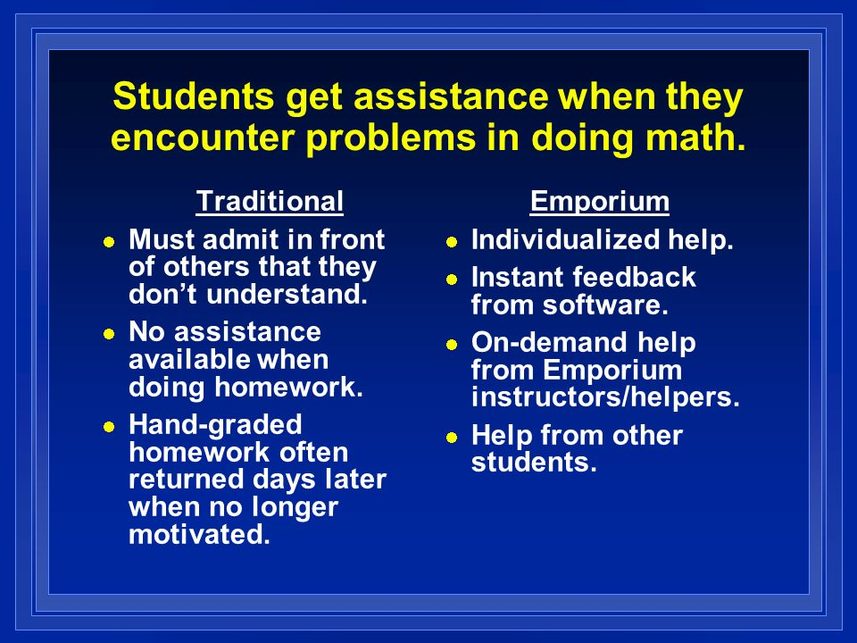 Students get assistance when they encounter problems in doing math.