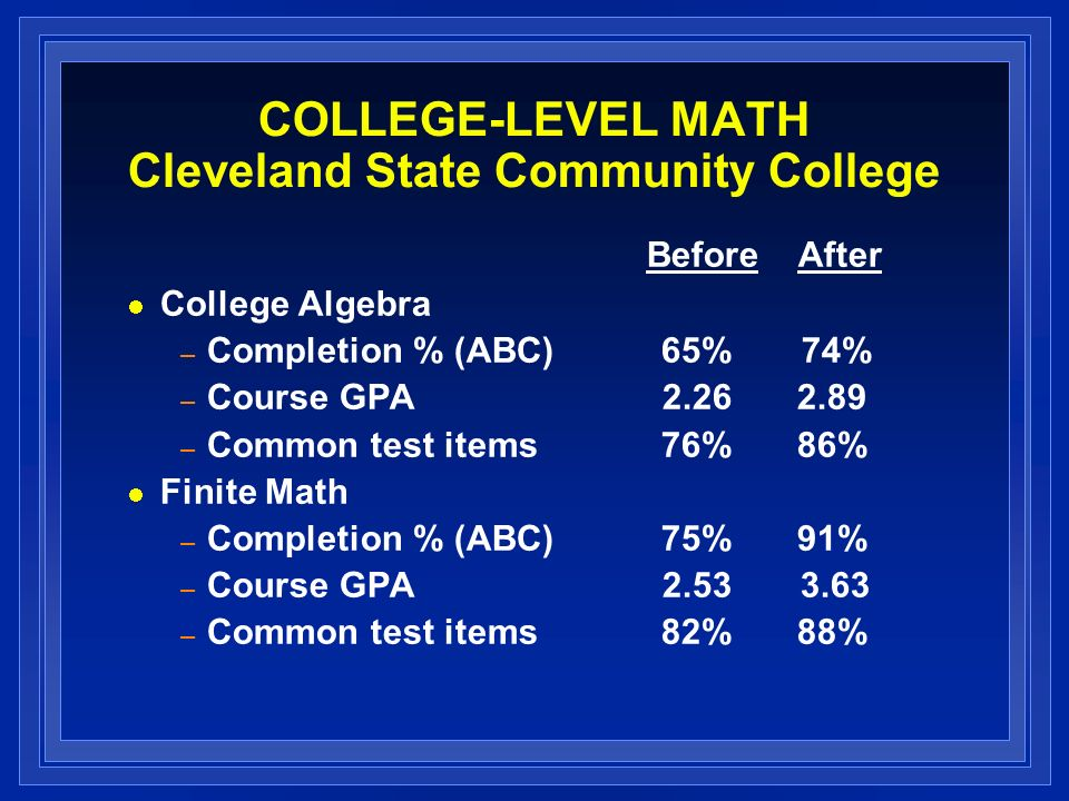 COLLEGE-LEVEL MATH Cleveland State Community College Before After College Algebra – Completion % (ABC)65% 74% – Course GPA 2.26 2.89 – Common test ite