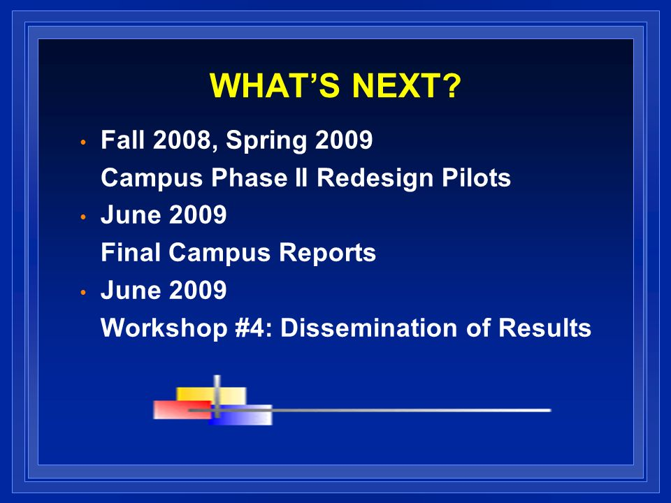 WHATS NEXT? Fall 2008, Spring 2009 Campus Phase II Redesign Pilots June 2009 Final Campus Reports June 2009 Workshop #4: Dissemination of Results