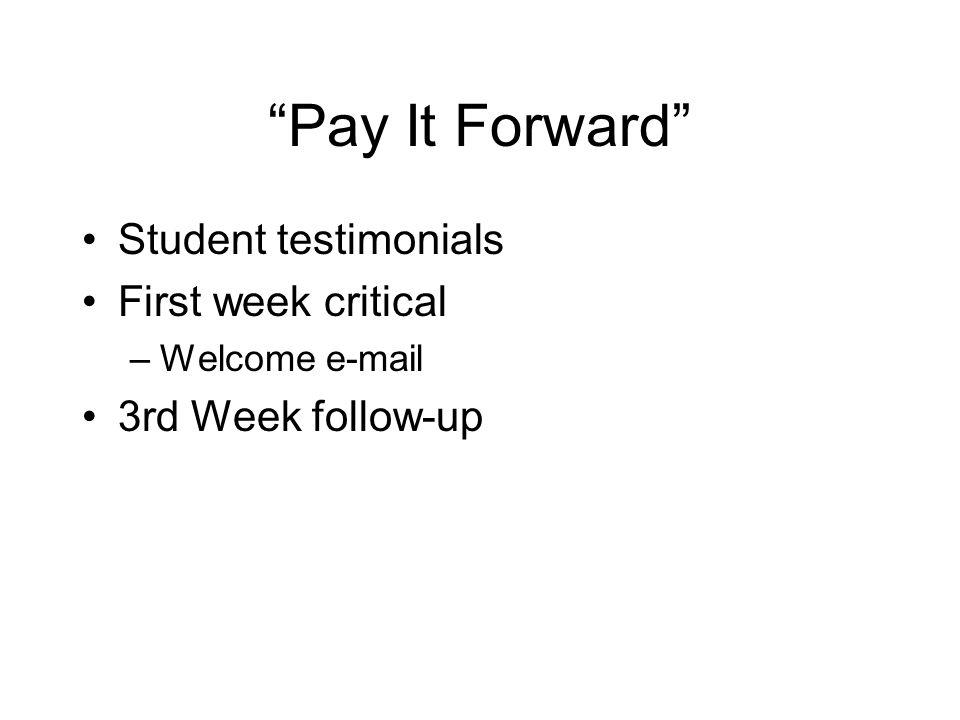 Pay It Forward Student testimonials First week critical –Welcome e-mail 3rd Week follow-up