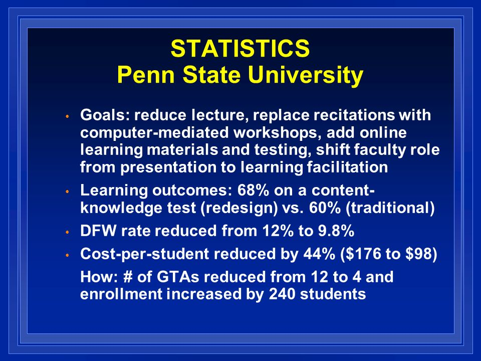 STATISTICS Penn State University Goals: reduce lecture, replace recitations with computer-mediated workshops, add online learning materials and testing, shift faculty role from presentation to learning facilitation Learning outcomes: 68% on a content- knowledge test (redesign) vs.