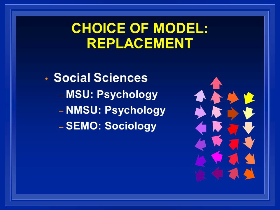 CHOICE OF MODEL: REPLACEMENT Social Sciences – MSU: Psychology – NMSU: Psychology – SEMO: Sociology
