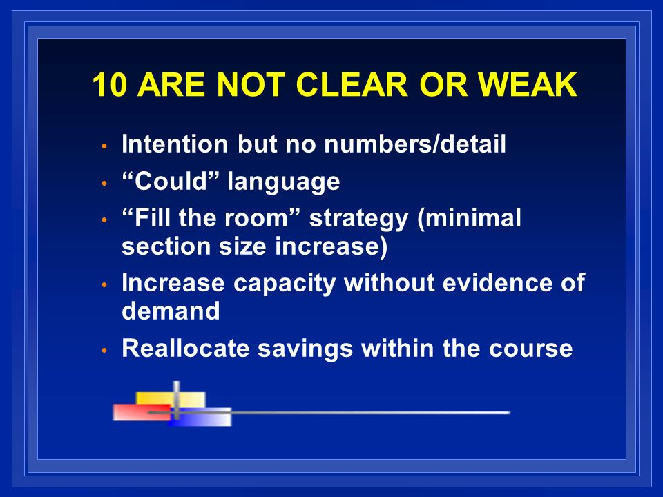 10 ARE NOT CLEAR OR WEAK Intention but no numbers/detail Could language Fill the room strategy (minimal section size increase) Increase capacity witho