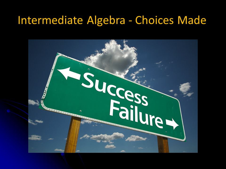 Intermediate Algebra - Choices Made