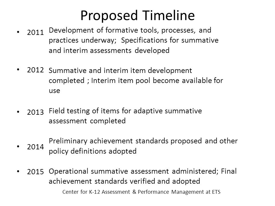 Proposed Timeline Development of formative tools, processes, and practices underway; Specifications for summative and interim assessments developed Summative and interim item development completed ; Interim item pool become available for use Field testing of items for adaptive summative assessment completed Preliminary achievement standards proposed and other policy definitions adopted Operational summative assessment administered; Final achievement standards verified and adopted Center for K-12 Assessment & Performance Management at ETS